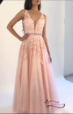 V-Neck Beading Belt Long Prom Dress with Lace Appliques - Elegant Pink Long Prom Dress with Lace Appliques, Pink Birthday Dress Source by youssefzemhoute - Prom Dresses Long Pink, Elegant Prom Dresses, Beautiful Prom Dresses, Grad Dresses, Birthday Dresses, Pink Birthday, Formal Dresses, Rose Dress, Pink Dress
