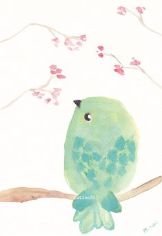 Mint Green Bird - Original Watercolor Painting 5 by 8 ART PAINTING WATERCOLOR. $15.00, via Etsy.