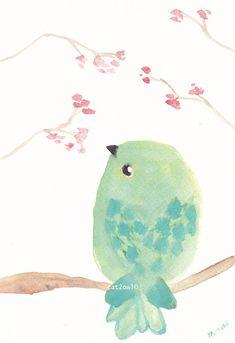 Mint Green Bird - Original Watercolor via Etsy.