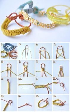 Now, we will see several steps of how to make knotted bracelets. That's all about how to make knotted bracelets. Now, you have your own knot bracelet. Diy Tresses, Jewelry Crafts, Handmade Jewelry, Women's Jewelry, Handmade Bracelets, Do It Yourself Jewelry, Diy Accessoires, Diy Braids, Summer Bracelets