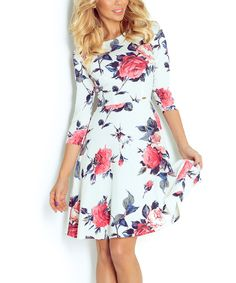 Look at this Numoco Ecru Floral Fit & Flare Dress on #zulily today!
