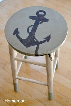 Stool makeover with a #nautical #anchor. Sea more Completely Coastal furniture makeovers here: http://www.completely-coastal.com/search/label/Furniture%20Makeovers