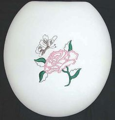 CloudSoft Rose & Butterfly embroidered padded toilet seat