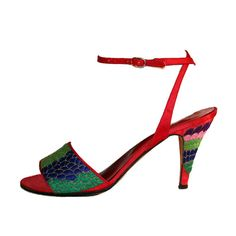 Vintage Halston Colorblock Embroidered High Heel by LoveTNT, $55.00