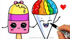 Summer Treats - How to Draw a Popsicle and Snow Cone Easy - Cute Cartoon...