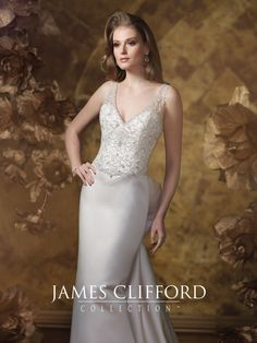 James Clifford Collection - J21504 - Sleeveless satin, tulle and hand-beaded embroidered slim A-line wedding dress, V-neckline with beaded illusion straps, beaded embroidered bodice with dropped waist, dramatic plunging scoop illusion back with beaded trim and crystal button closures, bow detail at back, crystal buttons and matching beaded embroidered motifs down back to chapel length train.Sizes: 2 – 20, 18W – 26WColors: Café, Ivory, White