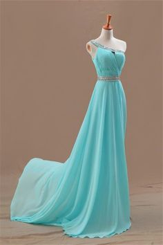 Fashion One Shoulder Blue Sparkling Beaded Belt Prom Dresses With Sexy Keyhole,2016 Long Chiffon Evening Gowns