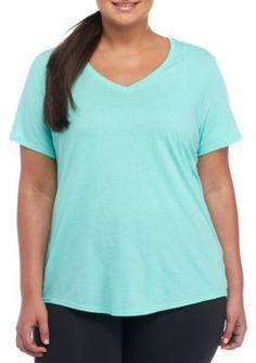 be inspired Fresh Aqua Plus Size Cotton Heather V Neck Tee