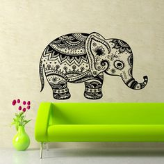 So cute for a baby's nursery! Elephant Wall Vinyl Decals Animal Vintage by SuperVinylDecal