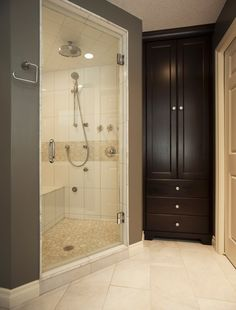 Bathroom Renovation - Steam shower with multi-body jets and rain  head and built in armoire