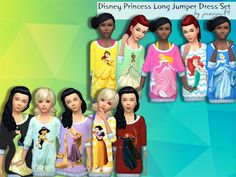 Set of Disney Princess long jumper dresses Found in TSR Category 'Sims 4 Sets'