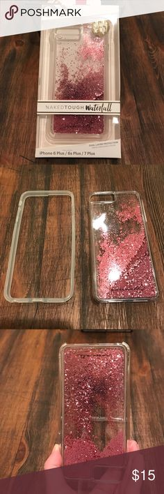 iPhone 6/7 Plus Waterfall Case Such a cute case with pink glitter and mini pink pearls. Looks super cute on your phone. Will fit an iPhone 6 Plus or 7 plus. Has dual bumper protection which is great for me and I'm sure for you as well. Used for one day and because of the way I use and hold my phone, it just wasn't a good fit for me which makes me really sad. Purchased at VZW store. Casemate Accessories Phone Cases