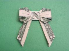 origami bow with a dollar bill Dollar Oragami, Oragami Money, Money Lei, Gift Money, Easy Dollar Bill Origami, Money Gifting, Money Rose, Money Sign, Origami Stars