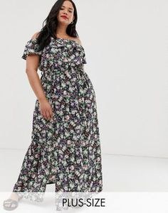 a6f9e60e78068 New Look Curve - Robe longue à imprimé floral avec motif noir