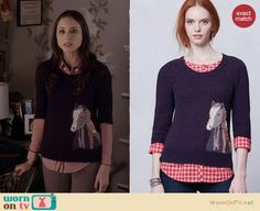 Spencer's horse sweater on Pretty Little Liars.  Outfit details: http://wornontv.net/16302/