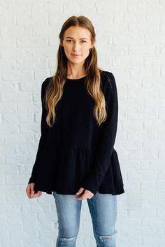 Black Button-Back Peplum | Clad & Cloth Apparel