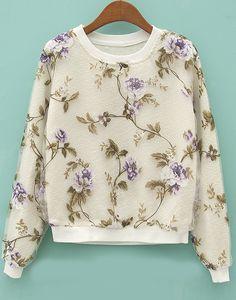 Beige Long Sleeve Floral Organza Crop Sweatshirt - Fashion Clothing, Latest Street Fashion At Abaday.com