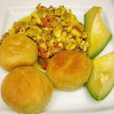 Mmm...this Jamaican breakfast is looking so good via Instagram.com/kris_a18   Recipes here - http://www.jamaicans.com/cooking   #ackeeandsaltfish #pear #johnnycakes #dumpling #jamaicanfood #jamaicanrecipes #cooking #recipes #jamaicanbreakfast