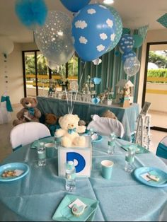 35 super ideas for baby boy baptism centerpieces teddy bears Cute Baby Shower Ideas, Baby Shower Decorations For Boys, Boy Baby Shower Themes, Baby Shower Balloons, Baby Shower Gender Reveal, Baby Boy Shower, Baby Shower Gifts, Baby Showers, Boy Baptism Centerpieces