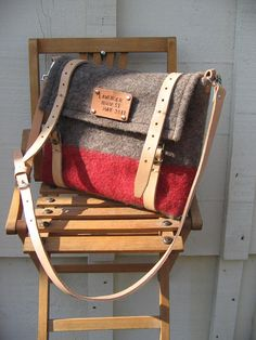 Upcycled wool blanket messenger bag.