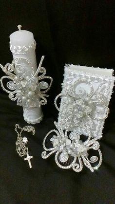 First Communion candle set head Comb set de por FANNYCARMENDESIGN