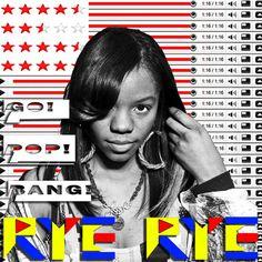 Album Cover concept. Rye Rye, Go! Pop! Bang!  Not used, but the youtube bars idea got saved for /\/\/\Y/\  Steve Loveridge 2009.