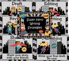 super hero teachers classrooms   Super Hero Writing Strategy Posters 2 - Donna Glynn / Kinderglynn ...