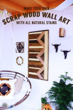 Have extra scrap wood laying around and feeling creative? Scrap Wood Wall Art and How to Make Your Own Natural Wood Stains. Wood Artwork, Diy Artwork, Diy Wall Art, Wood Wall Art, Wood Projects, Woodworking Projects, Woodworking Patterns, Woodworking Videos, Woodworking Plans