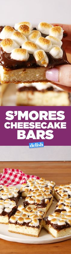 S'mores Cheesecake Bars are all about the toasted marshmallows. Get the recipe on Delish.com.