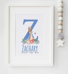 Personalised New Baby Peter Rabbit Name Birth Nursery Print Christening UNFRAMED…