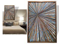 Reclaimed Wood Artwork Wall Starburst Sculpture Blue Brown