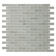 GBI Tile & Stone Inc. Gemstone White Glass Mosaic Subway Wall Tile (Common: 12-in x 12-in; Actual: 11.85-in x 11.85-in)