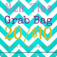 ***Grab Bag*** 3/27/14 & 3/28/14 ONLY! 20 hair ties/$10 ONLY $2 shipping. https://www.facebook.com/BowHeadBoutique