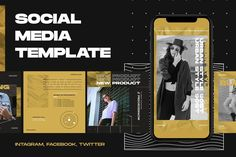 Social Media Template by ovozgraphics on Features : 1080 x 1080 px 1080 x 1920 px Print Ready Adobe Photoshop 300 ppi Free Font Used Instagram Design, Instagram Story, Instagram Posts, Social Media Template, Social Media Design, Youtube Channel Art, Ad Design, Design Posters, Graphic Design