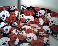 SKULL And ROSES NOTE Cards Skull Stationary by CathysCraftWorld