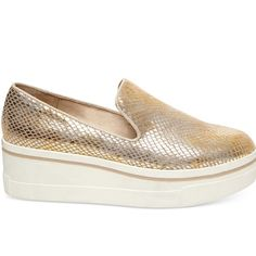 Steve Madden gold platform sneakers Great condition worn less than 5 times. Will also fit 8. Offers welcome. No trades Steve Madden Shoes Platforms