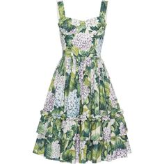 Dolce & Gabbana Floral-Print Cotton Dress (€1.745) ❤ liked on Polyvore featuring dresses, dolce & gabbana, vestidos, floral, print, white bustier, white ruffle dress, flower print dress, bustier dress and white floral dress