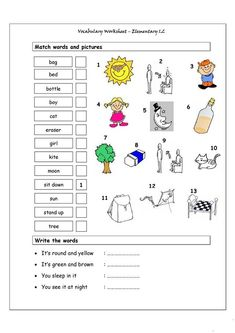 Vocabulary worksheet containing WEATHER words and the