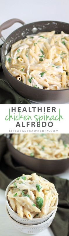 Healthier Chicken Spinach Alfredo   Lighten up a classic Fettuccine Alfredo recipe with this easy pasta recipe! Ready in 30 minutes with no heavy cream. A great healthy recipe for busy weeknights with chicken and plenty of fresh spinach.