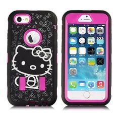 71e5c257a4 Pink Black Hello Kitty Case for Apple iPhone 6 Plus Cute Strong Shockproof  Cover  UnbrandedGeneric