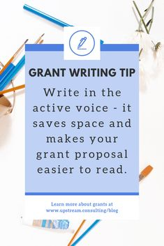 Writing passively isn't wrong (and is sometimes necessary!) but it can make your grant proposal harder to read. Use the active voice when writing grant proposals whenever possible. Click through to read more tips for writing grants. Grant Proposal Writing, Grant Writing, Writing Resources, Writing Tips, Active Voice, Job Help, Speech Therapy Activities, Play Therapy, Gifts For Teen Boys