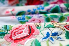 Hand embroidery on the scarfs from Łowicz Scarfs, Friendship Bracelets, Hand Embroidery, Polish, Lace, Accessories, Jewelry, Scarves, Vitreous Enamel