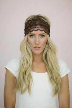 Brown Lace Headband Stretchy Wide Lacy Head Band by ThreeBirdNest, $18.00