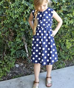 Navy & White Polka Dot Dress - Toddler & Girls #zulily #zulilyfinds