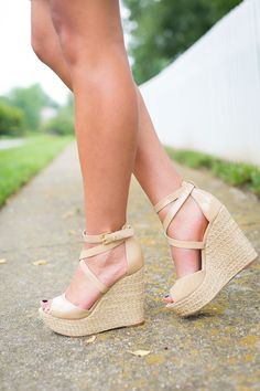 nude strappy wedges  // a southern drawl