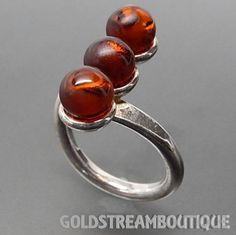 VINTAGE POLAND STERLING SILVER BALTIC CHERRY AMBER MODERNIST 3-STONE R – Gold Stream Boutique