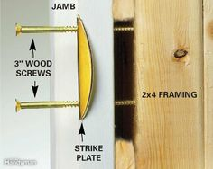 Reinforce Your Entry Door Strike Plate - Reinforcing your door's weak spot, the jamb, with a heavy-duty strike plate and extra-long screws gives…