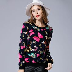 2016 fall new professional large size XL-5XL women's sweatshirts high quality printing jacquard knitting sweatshirts for women
