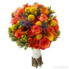 Encompassing everything Fall, this beautiful collection of arranged wedding flowers is perfect for late summer/autumn weddings! The bouquets and arrangements of wedding flowers are created with a great selection of yellow, orange, green and blue/purple flowers. For more information on arranged wedding flowers, visit www.growersbox.com.