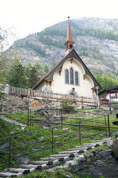 This was the sweetest little church- inside and out! Switzerland Vacation, Swiss Switzerland, Zermatt, Lugano, Beautiful Buildings, Beautiful Places, Places Around The World, Around The Worlds, Basel